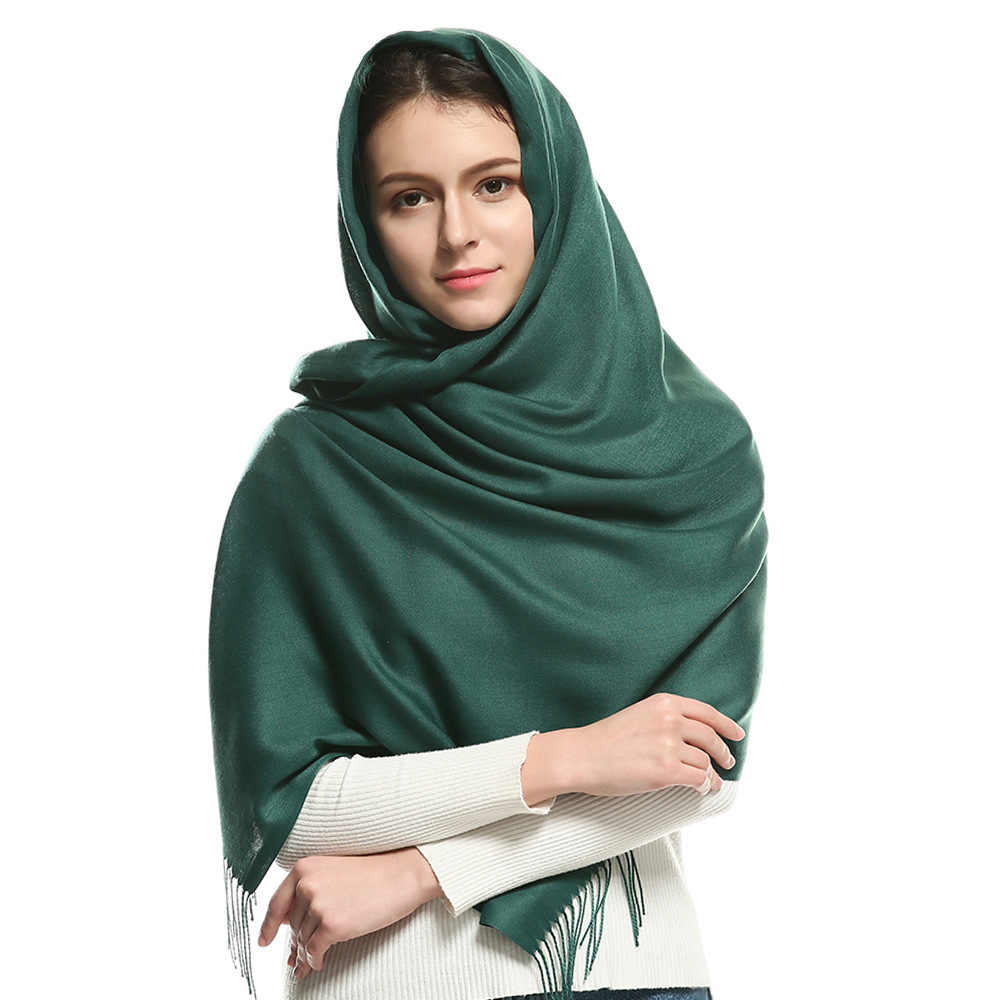 2019 luxury soild Cashmere Scarves Autumn and winter Muslim headscarf long soft Pashmina Thick tassel Capes scarf femme foulard