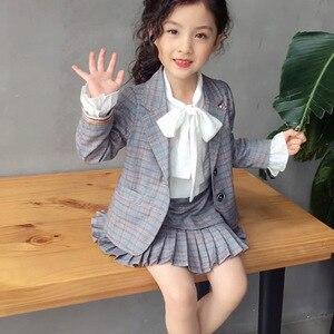 Image 2 - Elegancki 2 sztuk zestaw ubrań dla dużych dziewczynek jesień wiosna mundurek szkolny nastolatek Blazer garnitur kobiet dziecko uczeń kostium 8 10 12 lat