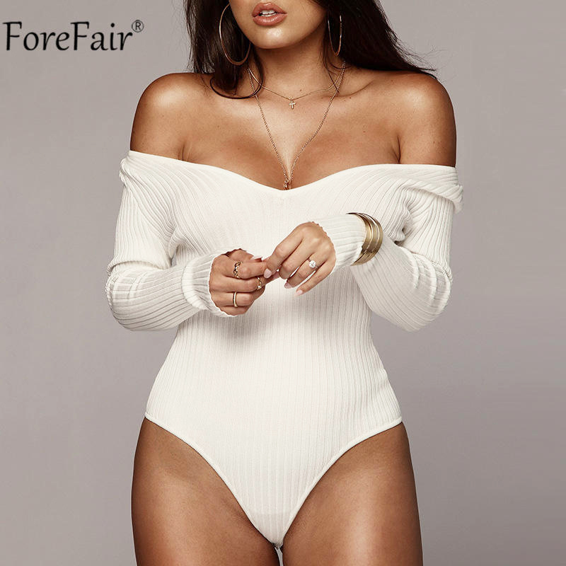 Forefair Off Shoulder Long Sleeve Women Bodysuit Autumn Winter Kint Black White Blackless V Neck Sexy Body Tops