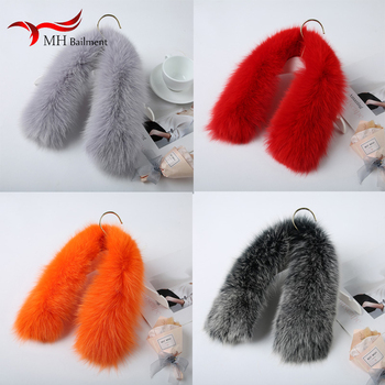 Oversized real fox fur collar ladies fashion luxury 100% fox fur square collar winter scarf men ladies coat collar women image