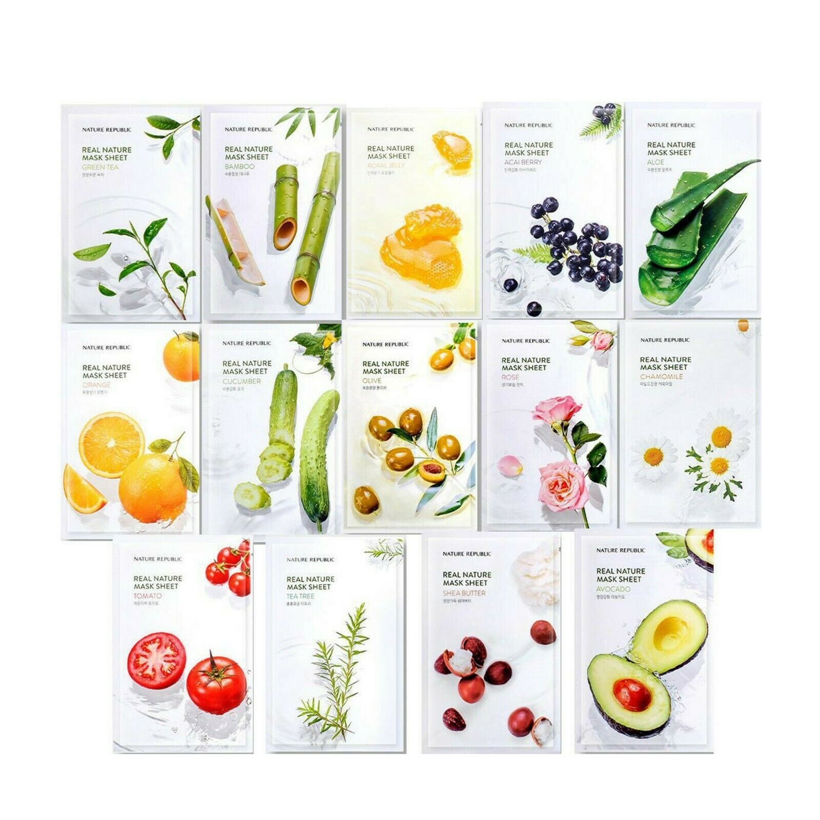 Nature Republic Real Nature Mask Sheets 10pcs/lot Face Mask Moisturizing Oil Control Shrink Pores Skin Care Korea Cosmetics