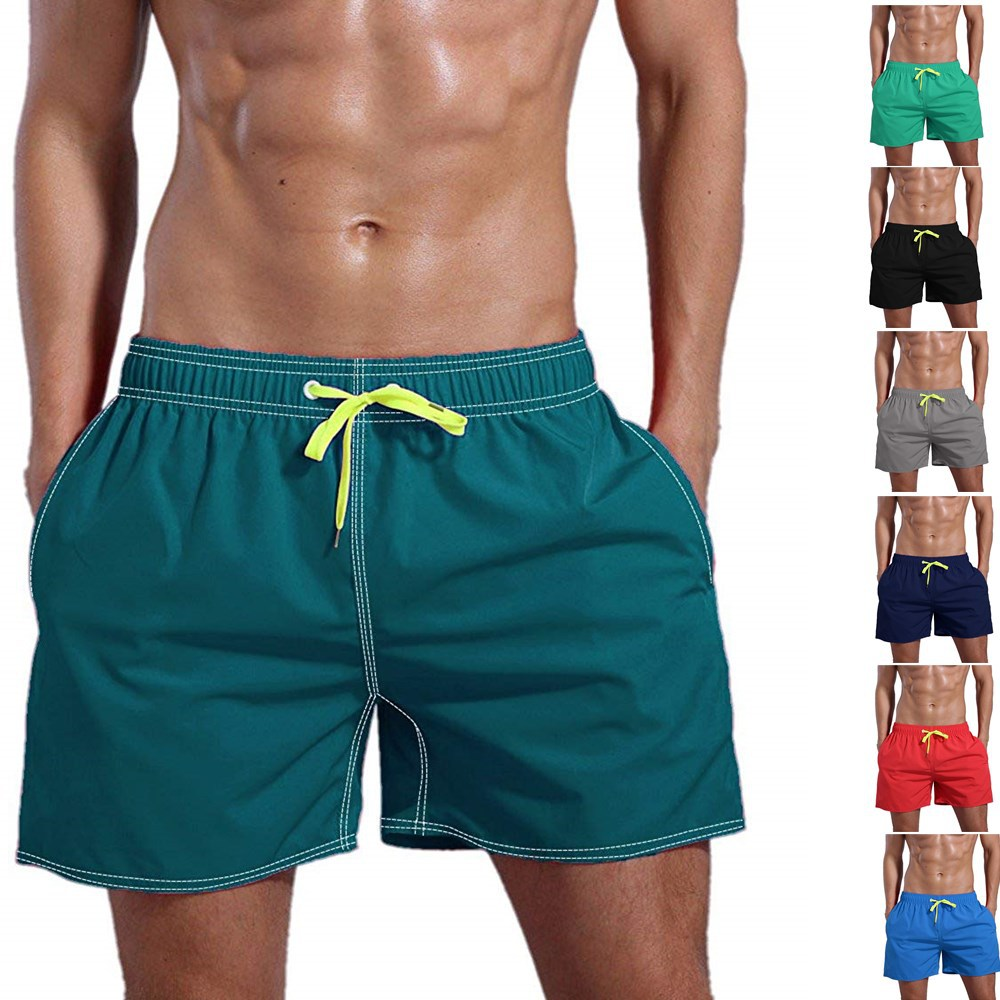 Summer Hot Sale Men's Shorts Beach Short Pants Solid Color Cotton Quick-drying Multi-color Board Shorts