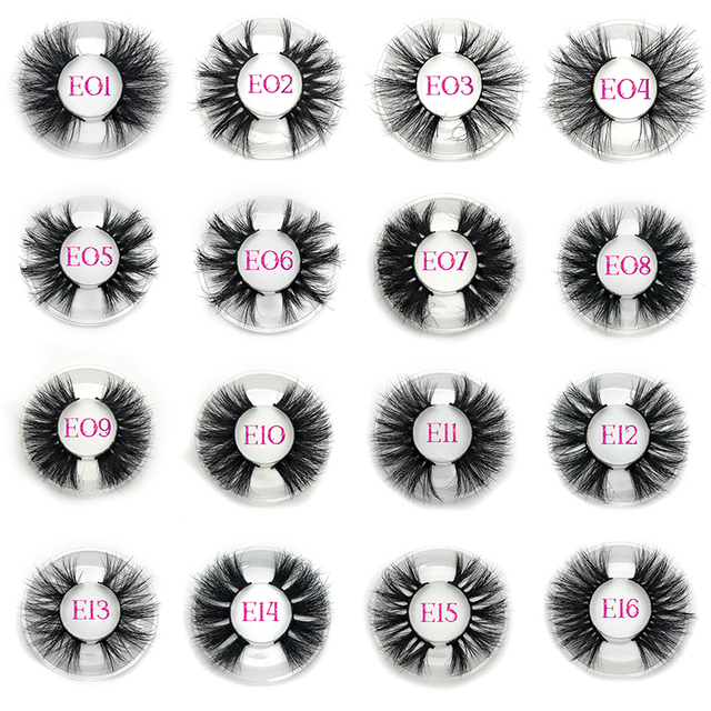 Mikiwi 25mm Long 3D mink lashes E01 extra length mink eyelashes Big dramatic volumn eyelashes strip thick false eyelash 3