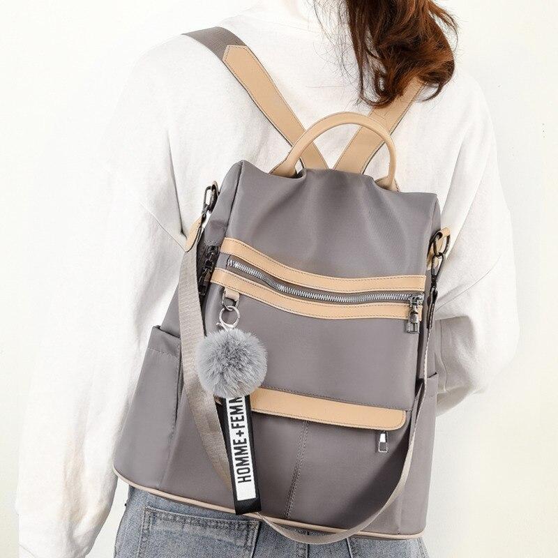 Водонепроницаемый рюкзак из ткани Оксфорд с защитой от кражи, простая ветрозащитная сумка для колледжа, молодежный рюкзак для девушек, подарок с подвеской в виде шарика для волос, 2020-5