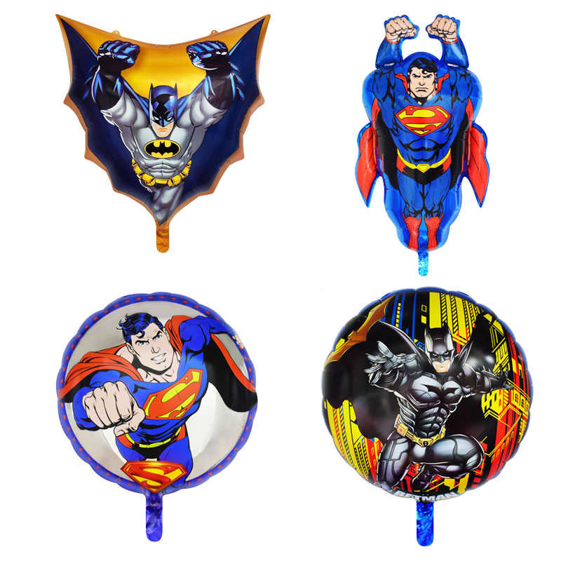 1pc 18inch Superman Round Batman Foil Balloon Superhero Happy Birthday Party Decorations Children's Toys Gift Balloons