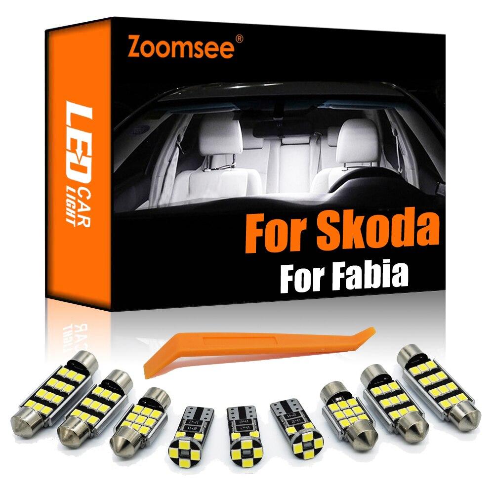 Zoomsee интерьер светодиодный для Skoda Fabia MK1 MK2 MK3 1999-2015 + Canbus автомобиль лампы купольная карта в маскирующем колпаке для внутренних помещений кар...