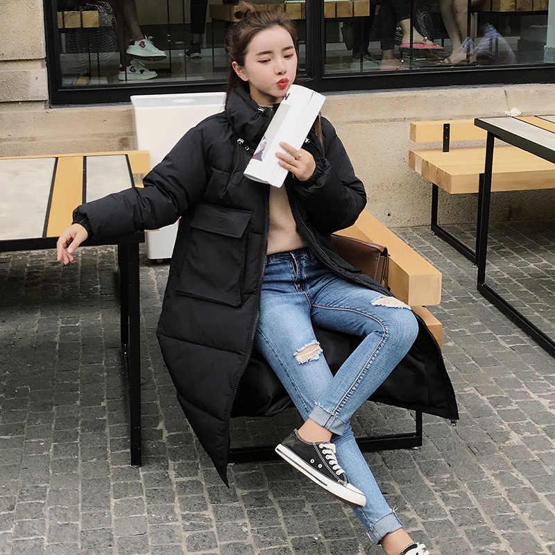 KMVEXO אופנה ארוך החם חורף נשים סלעית מעיל 2019 בתוספת גודל גדול כיס מוצק חורף מעיל נשים כותנה מרופדת מעיל