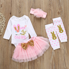 4pcs Baby Girl Spring Outfits Easter Rabbit Bodysuit+sequins Butterfly-knot Tulle Skirt+warm Legs +headband Set Children Clothes(China)
