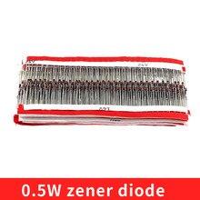 1020 pces 34 valor de alta tensão zener diodo 0.5w 2v 47 47v 1/2w zener diodo kit