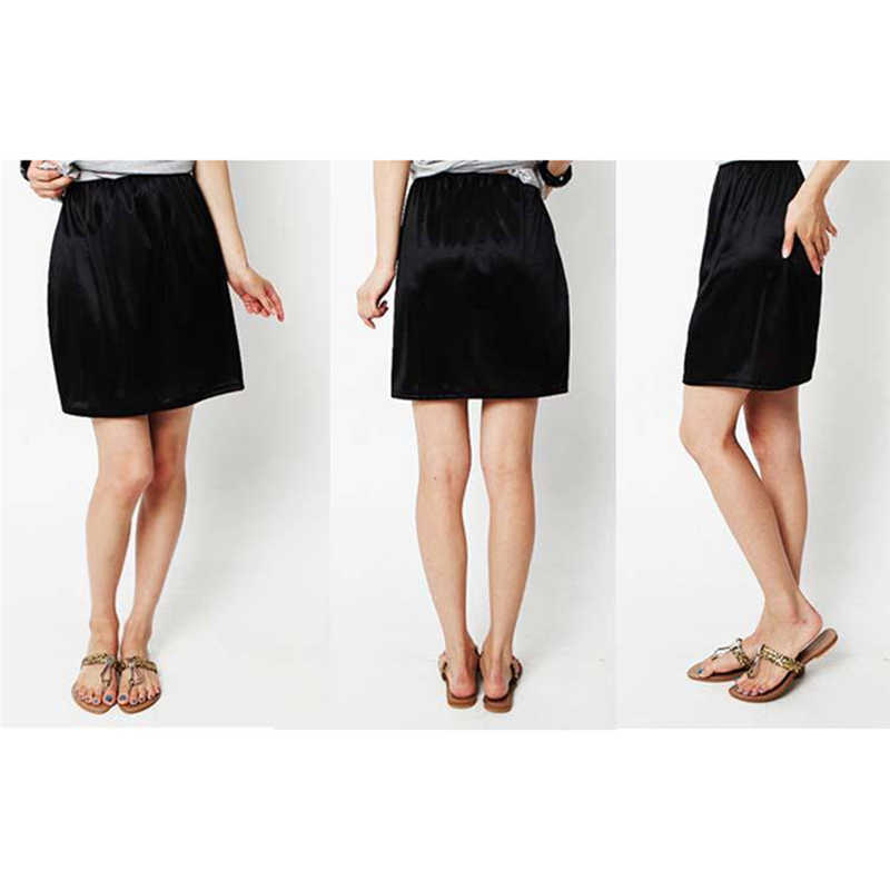 女性弾性ウエストハーフスリップペチコートスカートアンダー女性クリノリンミルクシルク白レースの通勤オフィスの女性のスカート