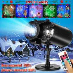 Projector Licht 12 Kaarten LED Projectie Lamp Dubbele Vat Water-Wave Outdoor Nieuwe Jaar Party Decor Vrolijk Kerstfeest Schijnwerpers