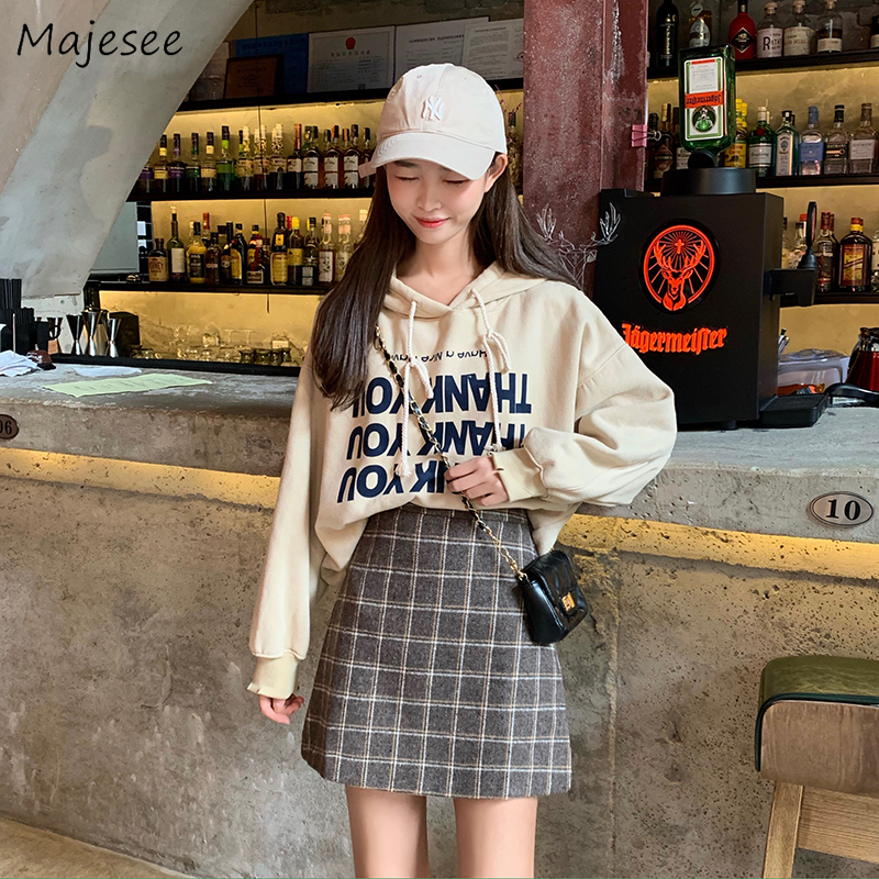 Skirts Women Mini High-Waist Simple Plaid Elegant Student Korean Style All-match Woolen High Quality Harajuku Ulzzang Girls Chic