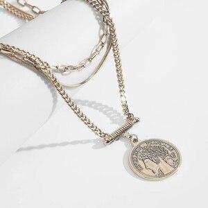 Punk Multi Schicht Gold Farbe Portrait Choker Halskette Geschnitzt Münze Metall Anhänger Halskette Für Frauen Coole Vintage Zubehör 2020