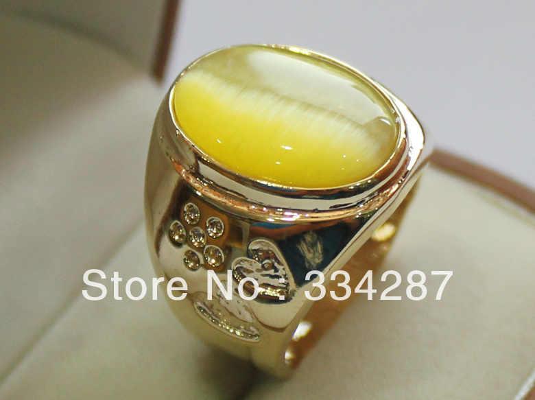 + + + + شحن مجاني جميل الأصفر مزدوجة القلب شكل حجر عين القط الرجال المجوهرات هدية حلقة 13X18 مللي متر حبة