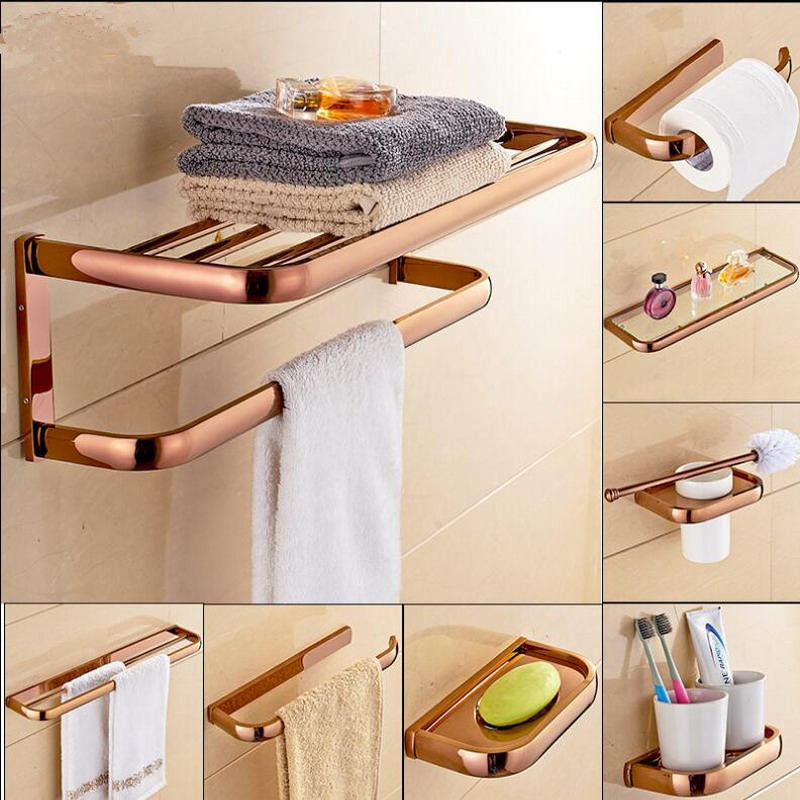 Rose Gold Brass Square Bathroom Hardware Sets Towel Rack Bath Toilet Paper Holder Toothbrush Holder Bathroom Accessories Kxz010