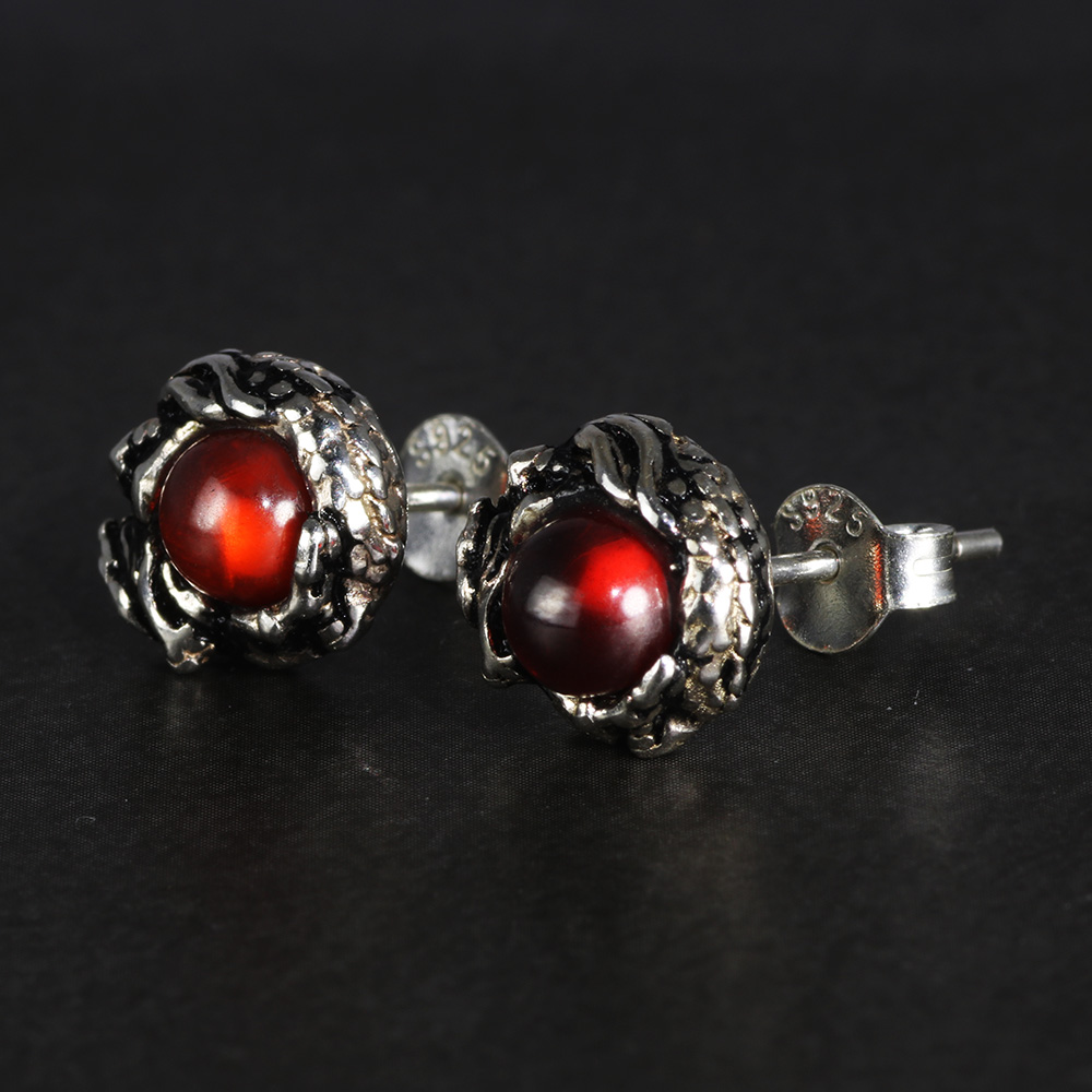 100% Murni 925 Sterling Silver Stud Earrings untuk Wanita Pria Naga - Perhiasan fashion - Foto 2