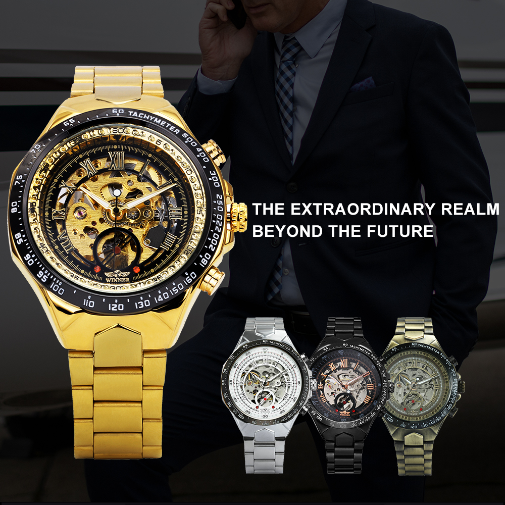 Hcc778ae543b2411596af9787a6d4884dU WINNER Official Vintage Fashion Men Mechanical Watches Metal Strap Top Brand Luxury Best Selling Vintage Retro Wristwatches +BOX