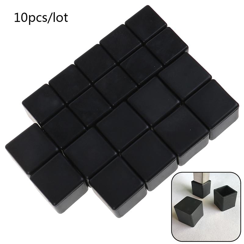 10pcs Square Silicone Chair Leg Caps Non-slip Table Foot Dust Cover Floor Protector Pads Pipe Plugs Furniture Leveling Feet