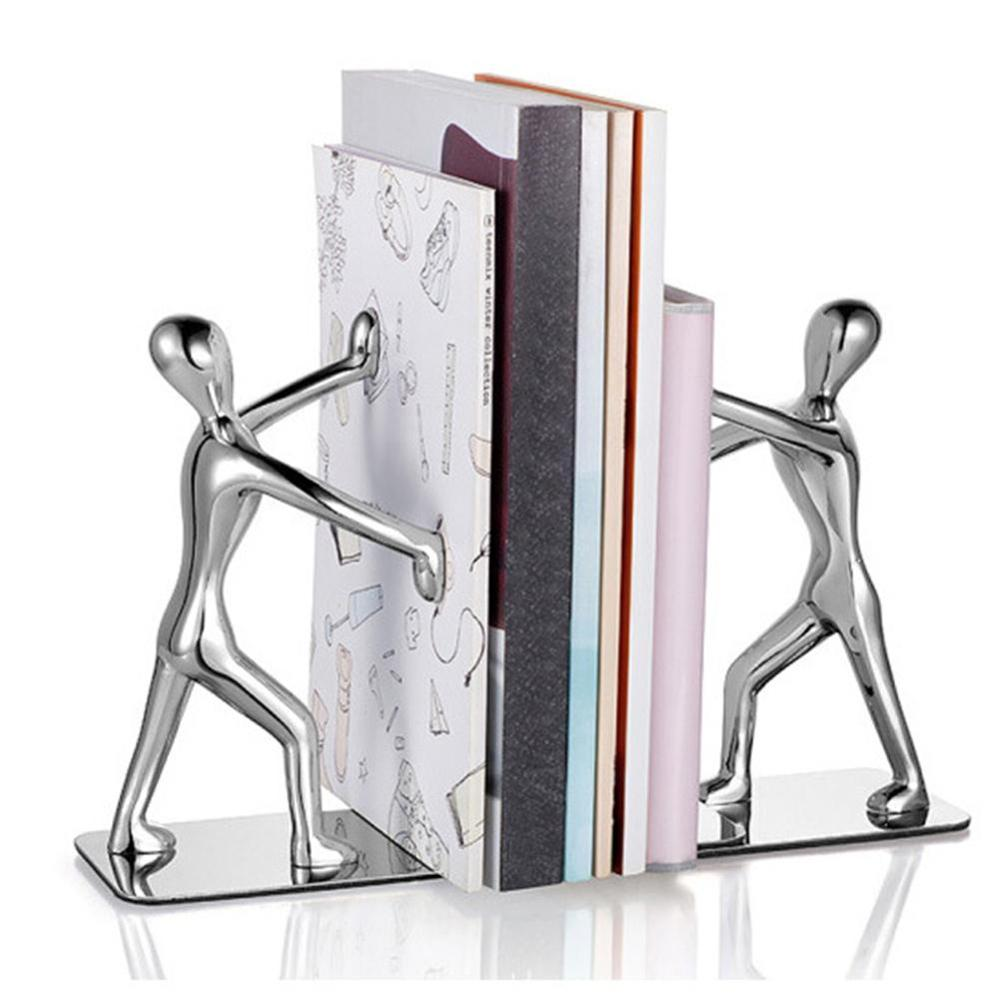 2Pcs Kung Fu Figurine Hand Push Office Book Stand Organizer Holder Home Shelf