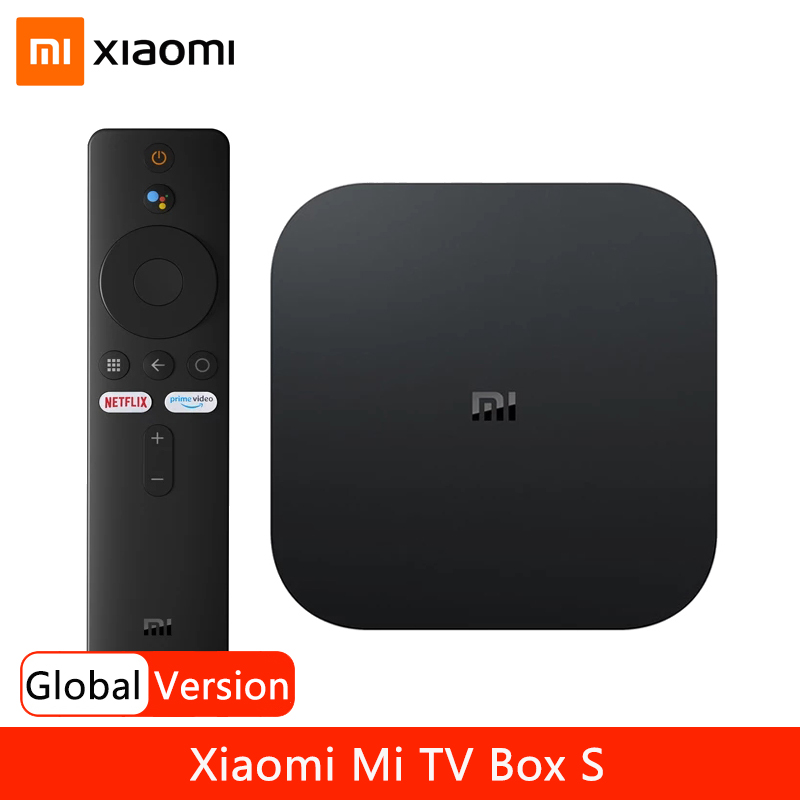 Глобальная версия Xiaomi Mi Box S 4K со сверхвысоким разрешением Ultra HD, приставка Android TV 9,0 HDR 2G 8G, Wi-Fi, Google Cast Netflix Smart TV Box S IPTV декодер каналов кабельног...