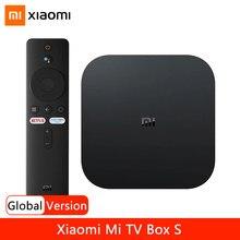 Versão global xiaomi mi caixa s 4k ultra hd android tv 9.0 hdr 2g 8g wifi google elenco netflix caixa de tv inteligente s iptv conjunto caixa superior