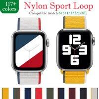 Correa de nailon para Apple watch, banda deportiva de 44mm, 40mm, 42mm y 38mm para iWatch 3, 4, 5, 6 se, 44mm