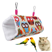1PCS Owl Print Pet Hammock Bird Hamster Hanging Soft Bed Cages Nest For Hamster Squirrel Rat Small Animal Cage House Pets Toy 58 1pc hamster hanging house hammock cage sleeping nest pet bed rat hamster toys cage swing pet banana design small animals