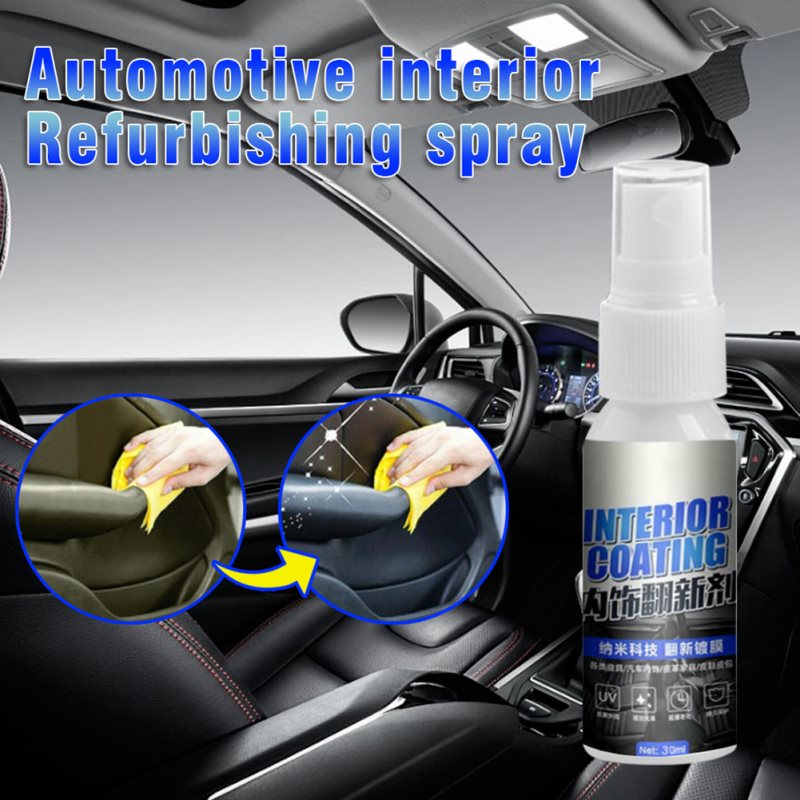30ML Car Interior Decorative Wax Cleaner Agent Leather Dash Board Glazing Waterborne Panel Coating Plastic Renovation Agent New