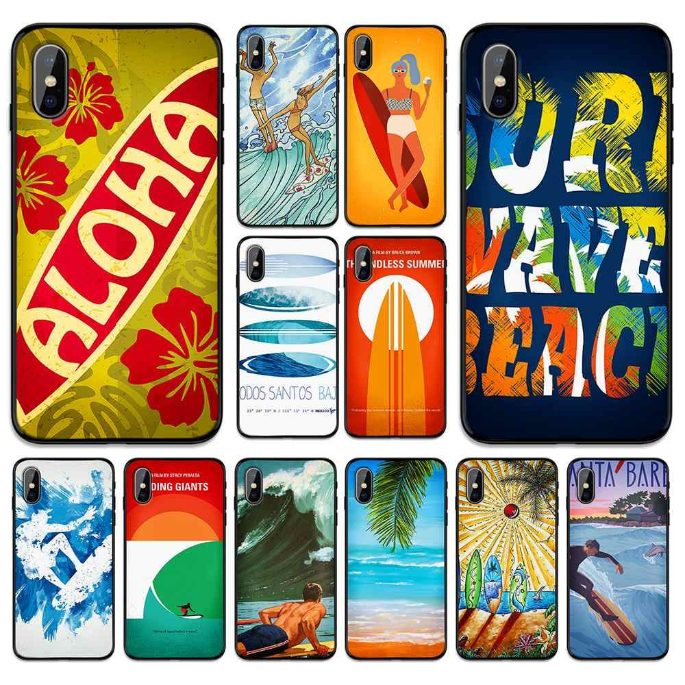 Tabla de surf arte surf Soft TPU funda para iPhone 6 De Apple 6S 7 8 Plus 5 5S SE X XS MAX XR fundas de silicona