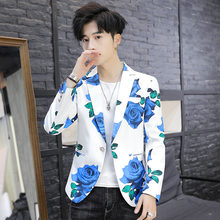 Мужской пиджак с цветочным принтом на одной пуговице