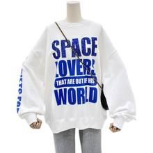 2021 versão coreana da nova letra solta oversized hoodie moda feminina de manga comprida superior casaco na moda camisola feminina