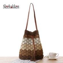 Women Straw Handbag Shoulder Bag Tassels Tote Summer Beach Shopping  Fashion Travel Bucket Beach bag 2019 Autumn and winter new