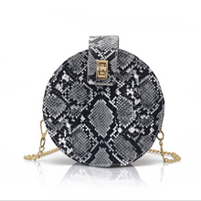2019 Europe and the United States new snakeskin print small round bag casual fashion single shoulder diagonal bag  lock handbag lace embroidered small round bag 2019 new korean fashion casual women s bag round tassel bag shoulder diagonal tote bag