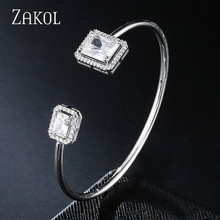 ZAKOL Luxury Exquisite Rectangle Micro Pave CZ Zirconia Crystal Cuff Bangles for Women Fashion Party Jewelry FSBP2163