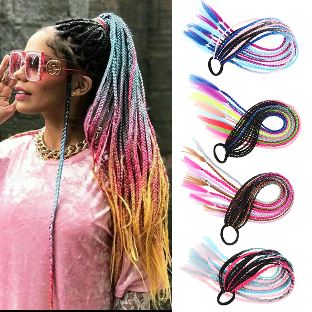 MERISIHAIR 24Inch Long Synthetic Braided Chignon Colorful Rainbow Braid Hair Ponytail Hair Extension Pigtail With Elastic Band