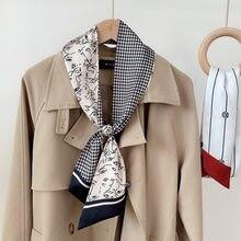 Lenço de seda magro pescoço gola gravata feminina foulard saco fita cachecóis floral impressão elegante hairband cabeça kerchief sj301