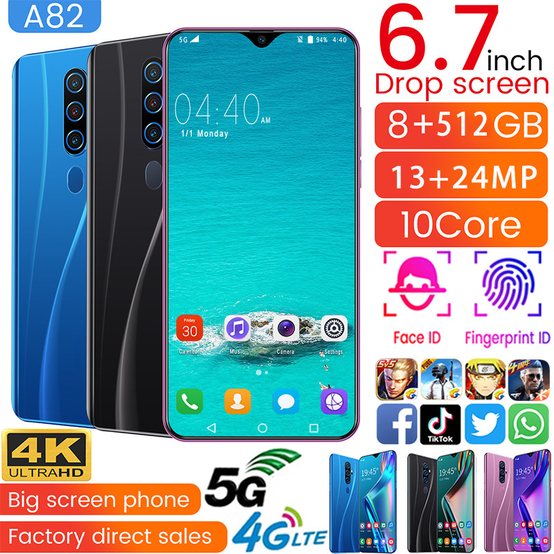 Cell Phones A82 MTK6799 Mobile Phone Deca Core 6.7inch Unlocked Smartphone 1440*3040 4GLTE Smartphone 5G 8GB+512GB 13MP+24MP