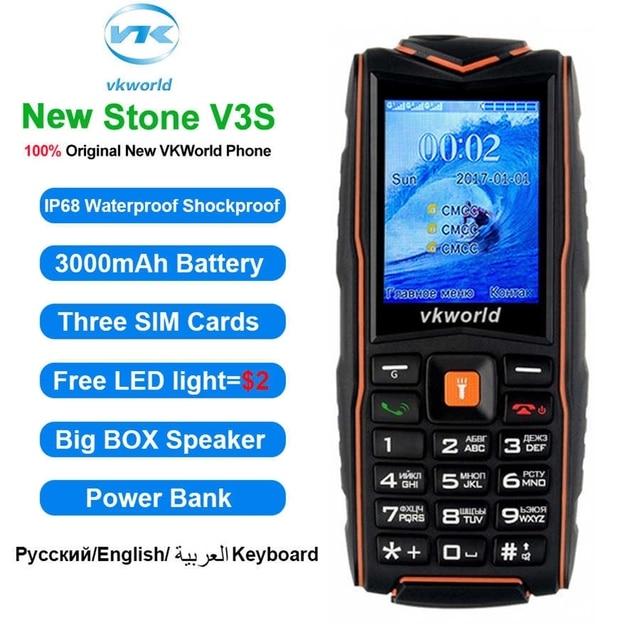 "Original Vkworld Stone V3 IP67 Waterproof Mobile Phone 2.4"" Shockproof Dustproof Power Bank Outdoor 3000mAh Rugged Cell Phone"