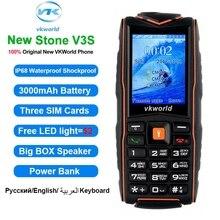 """Vkworld original pedra v3 ip67 à prova dip67 água telefone móvel 2.4 """"à prova de choque dustproof power bank ao ar livre 3000 mah telefone celular áspero"""