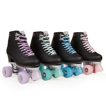 Artificial Leather Roller Skates Double Line Skates Women Men  Two Line Skate Shoes Patines With Four colors PU 4 Wheels