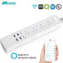 Listwa zasilająca Wifi Smart Outlets Surge Protector 4 US wtyczka AC gniazdo z USB Homekit 1.8m przedłużacz dla Alexa Google Home