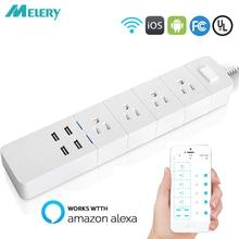 Toma de corriente inteligente con Wifi, Protector contra sobretensiones, enchufe de CA estadounidense con USB Homekit, cable de extensión de 1,8 m para Alexa y Google Home