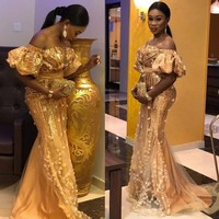 Aso Ebi Evening Dresses robe de soiree abiye Custom Made Floral Tulle Gold Evening Gowns Mermaid Off Shoulder abendkleider