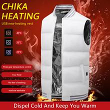 Winter Electric Heated Vest Jacket Men Women Heating Warm Vest USB Infrared Flexible Outdoor Camping Hiking Fishing White Jacket cheap CN(Origin)