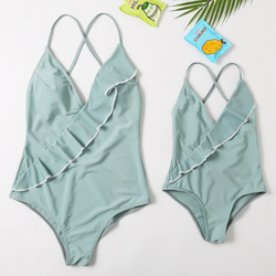 2020 Hot Sale New Beachwear Mum and Me Swimwear One Piece Long Thong Monokini  Solid Swimsuit for Girl and Women Family Swimsuit
