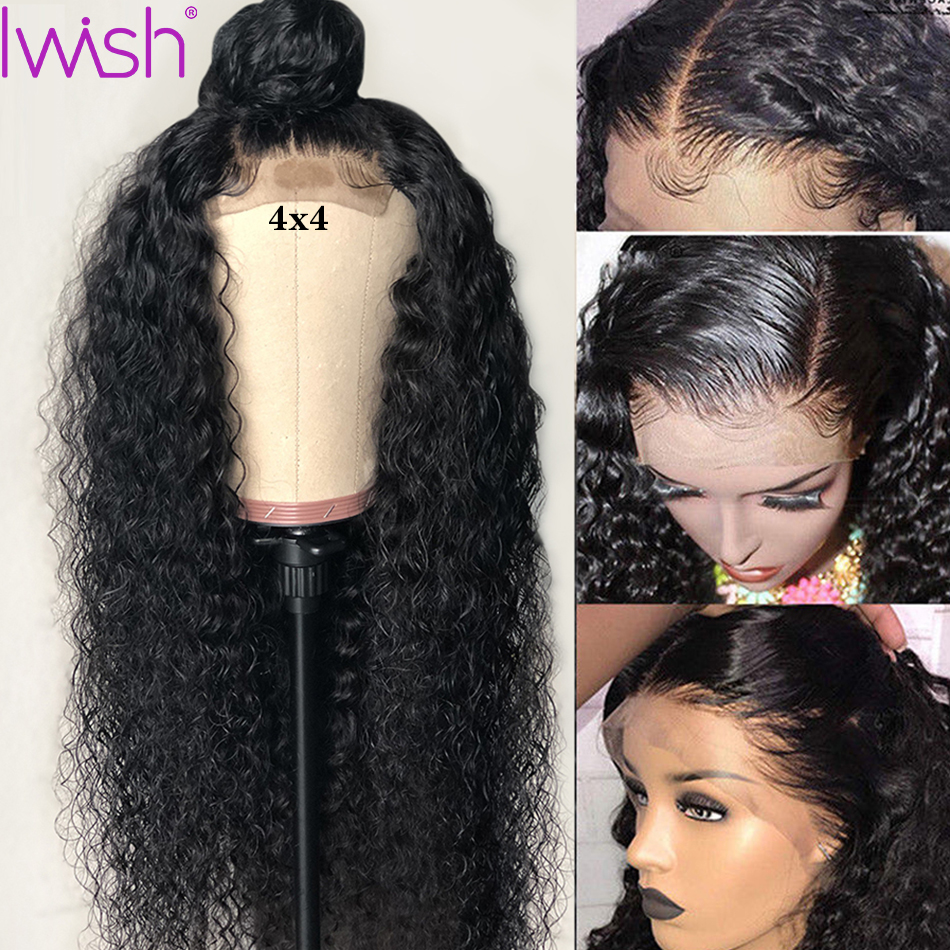 Iwish 4x4 Closure Wig Water Wave Wig Human Hair Brazilian Hair Wigs For Black Women Remy Lace Closure Wig Natural Hair Deep Part