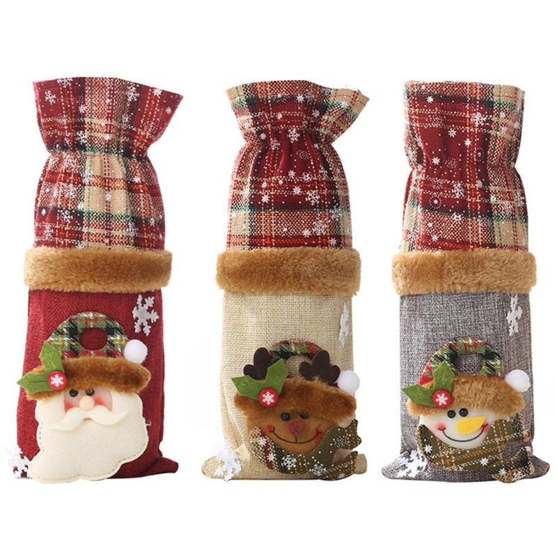 Christmas Wine Bottle Cover Gift Candy Bag Christmas Decoration For Home New Year Party Supplies