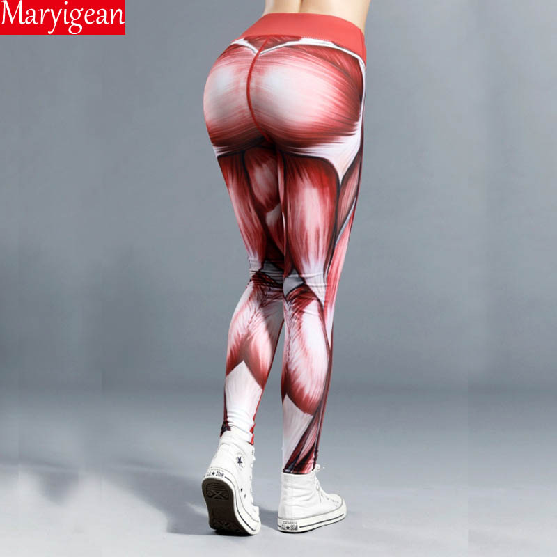 Maryigean New Muscle Print Sports Leggings Quick-drying Tight-fitting Yoga Stretch Pants High Waist Fitness Leggings