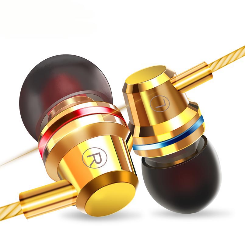 Mobile Phone Wire Headset Extra Bass Straight Line PC Subwoofer Earphones In-ear Metal Sports Music Phone Earphone With Mic