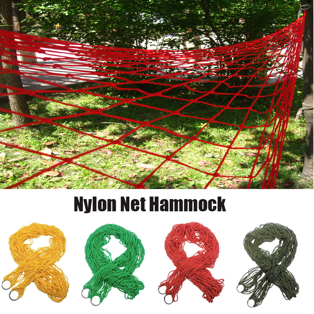 Portable Nylon Mesh Hammock Sleeping Bed Outdoor Travel Camping Blue Green Red Hanging Folding Patio Swing Chair Hammock